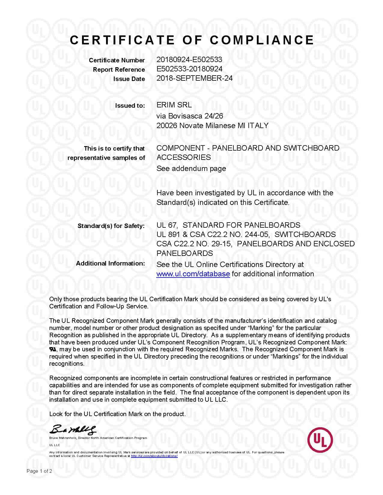 Certificate of Compliance UL - QEUY2-8 file nr. 502533_Pagina_1